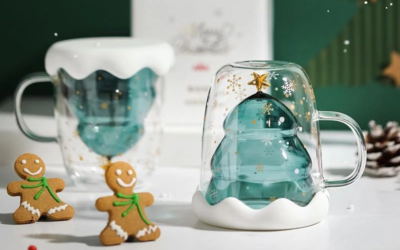 Mighty Christmas Tree Insulated Glass Coffee Mug