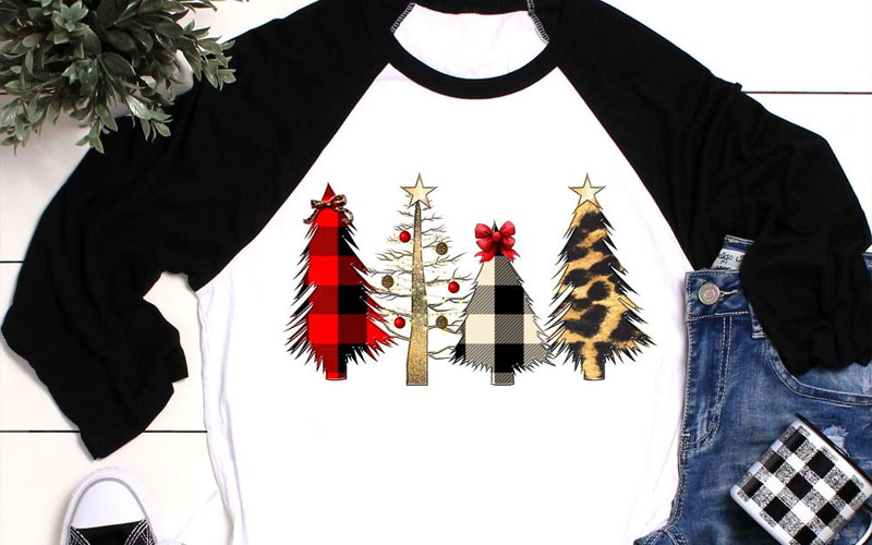 Raglan sleeve Merry Christmas Trees Shirt