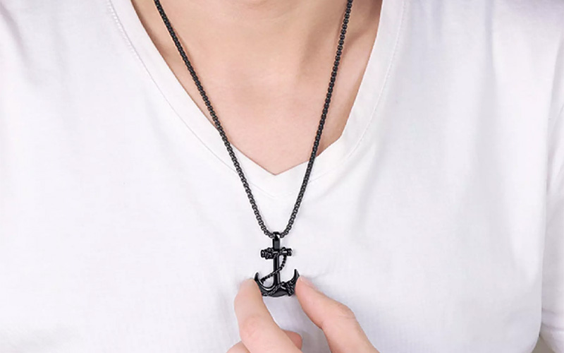 Stainless Steel Unisex Anchor Necklace