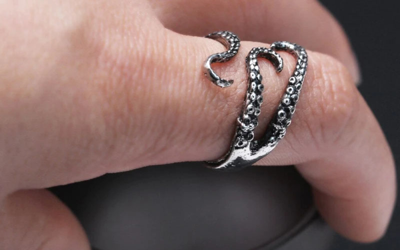 Silver Octopus Tentacle Ring