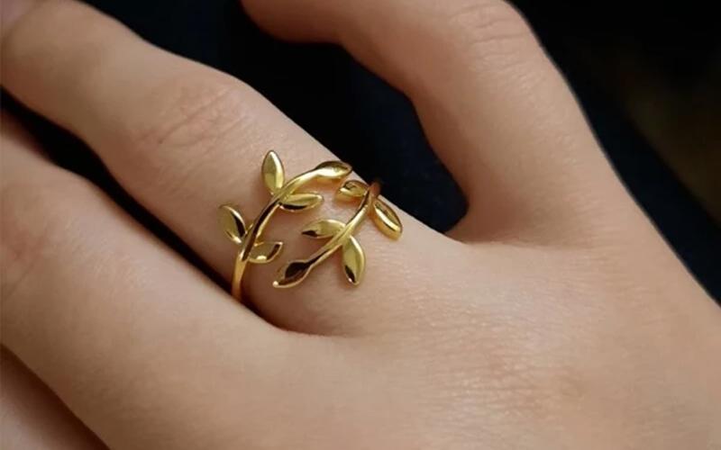 Adjustable Olive Branch Leaf Ring