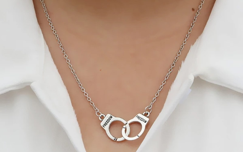 Edgy Unisex Handcuff Necklace Chain Pendant