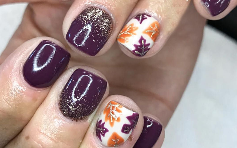 Fall Sky and Earth Ivory Nails