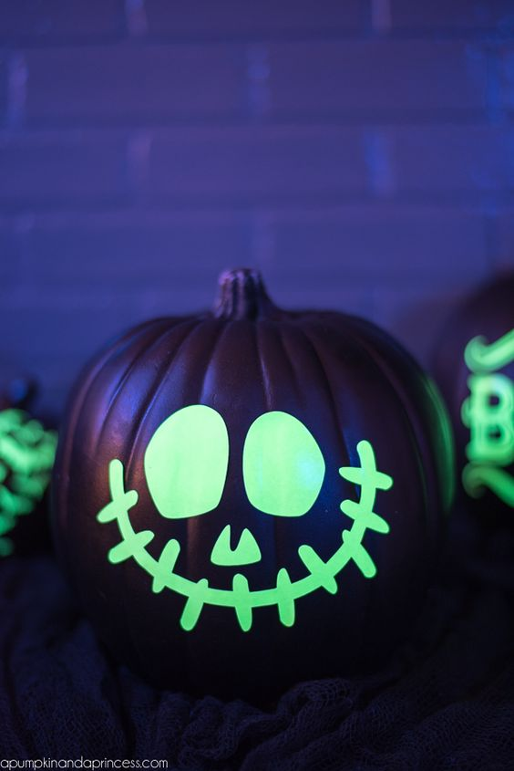 Glowing Skull No Carve Pumpkin