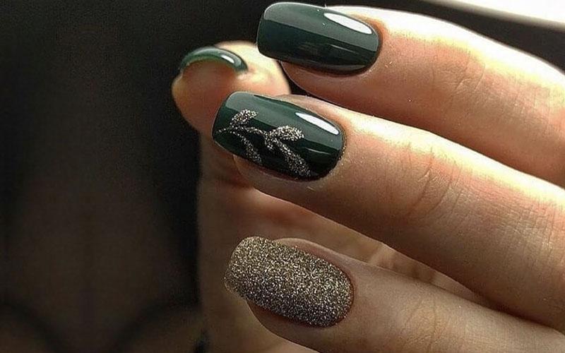 Golds and Greys Fall Nail Art