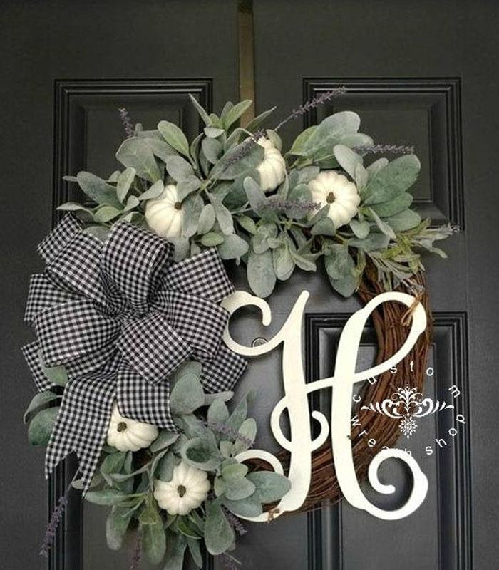 Monogram Front Door Wreath for Fall 2