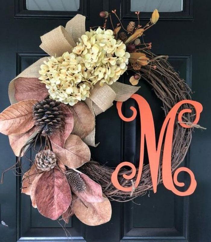 Monogram Front Door Wreath for Fall