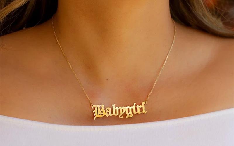 Old English Babygirl Pendant Necklace