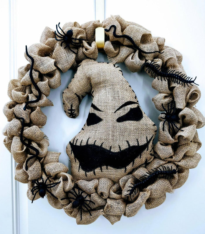 Oogie Boogie Wreath at home