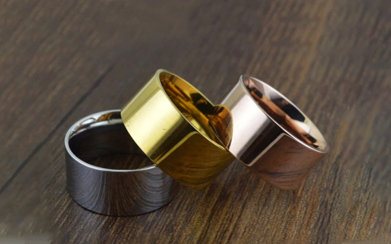 Stainless Steel Mens Cigar Band Ring