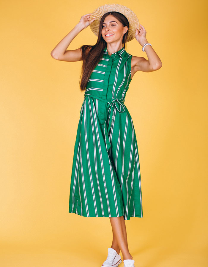 A line Tea length dress