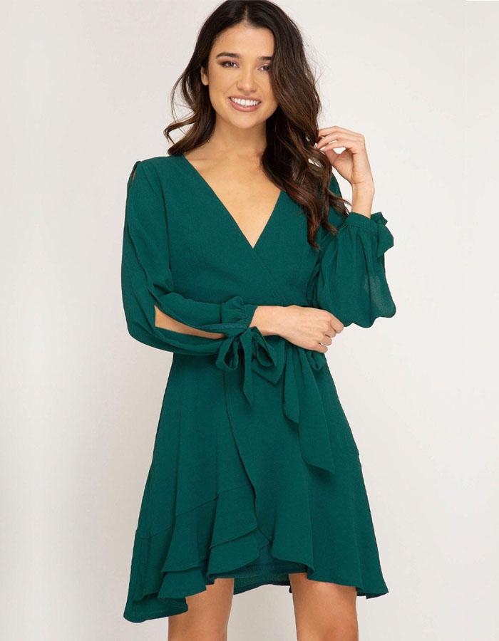 Long SleeveWrap Dresses