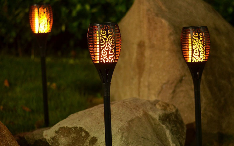 Outdoor Solar Flame Torch Lights