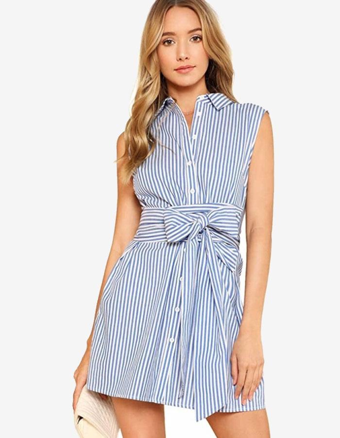 Sleeveless, short, or long-sleeved shirt dress