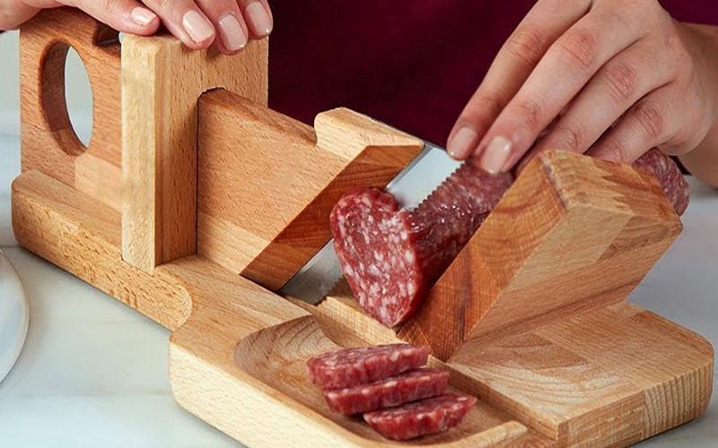 19th Century Wooden Sausage Cutter & Salami Slicer Machine