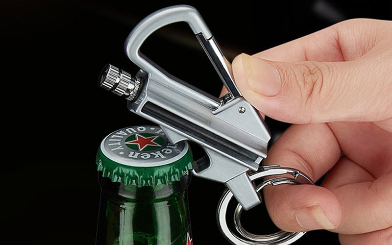 Keychain Flint Fire Starter and Bottle Opener