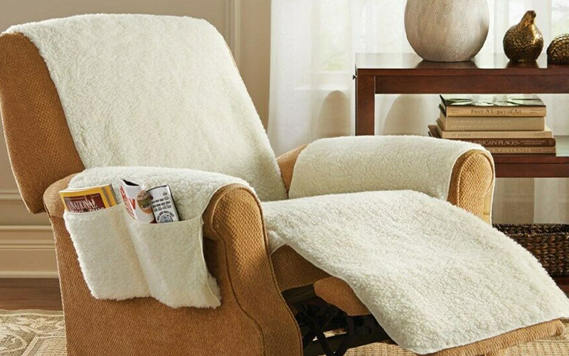Poly Fleece One-Piece Comfortable Recliner Chair Cover with Pockets