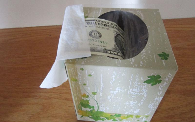 Rolled Money in Tissue Box