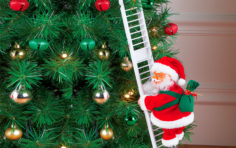 Santa Climbing Ladder Christmas Decorations