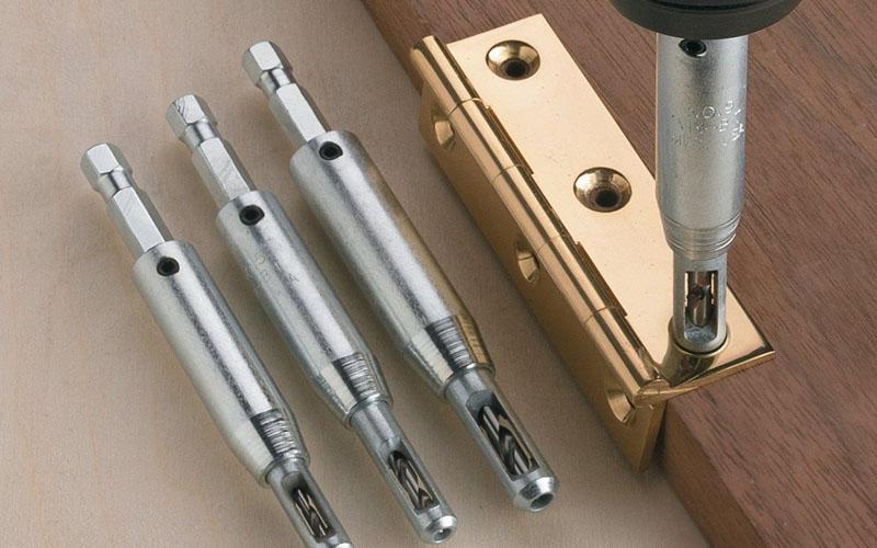 Self-Centering Hinge Drill Bits