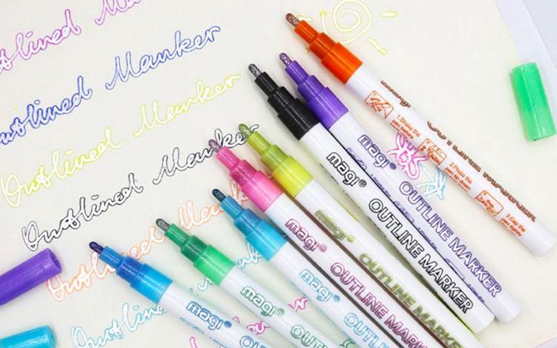Self-Outline Metallic Markers Double Line Outline Pen
