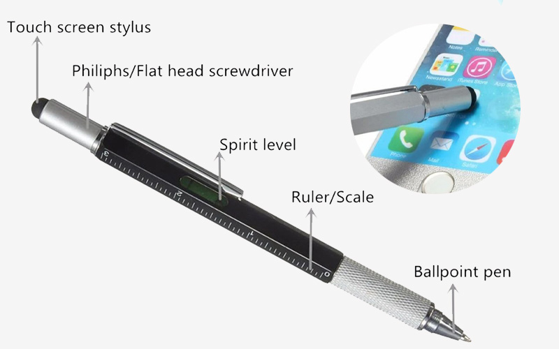 6 In 1 Multi-Functional Stylus Metal Ruler Pen with Level & Screwdriver