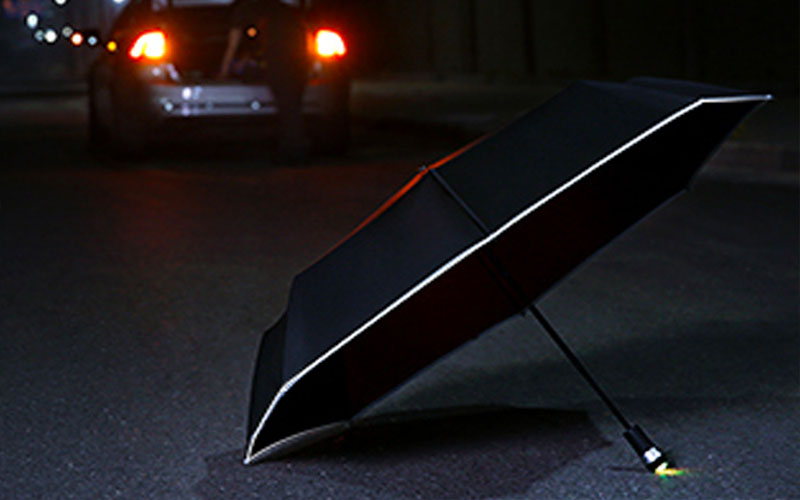 Windproof LED Inverted Umbrella with Reflective Stripe & Reverse Folding