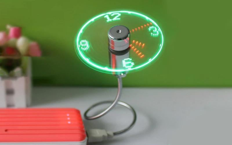 Flexible USB LED Clock Fan
