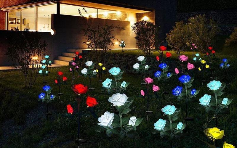 Solar Powered LED Rose Light