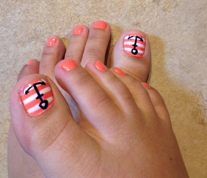Bright Orange Beach Toes