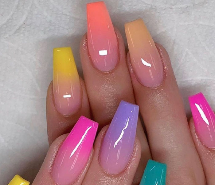 French Manicure with Beach Nails Colors