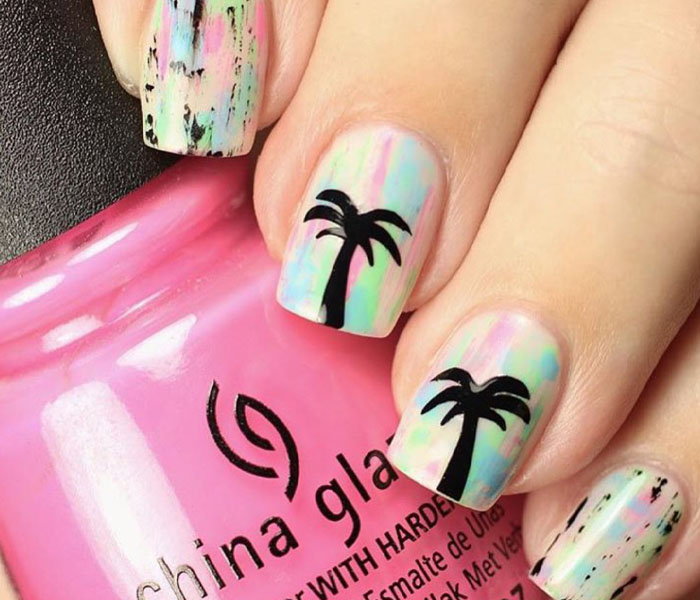colorful beach nails