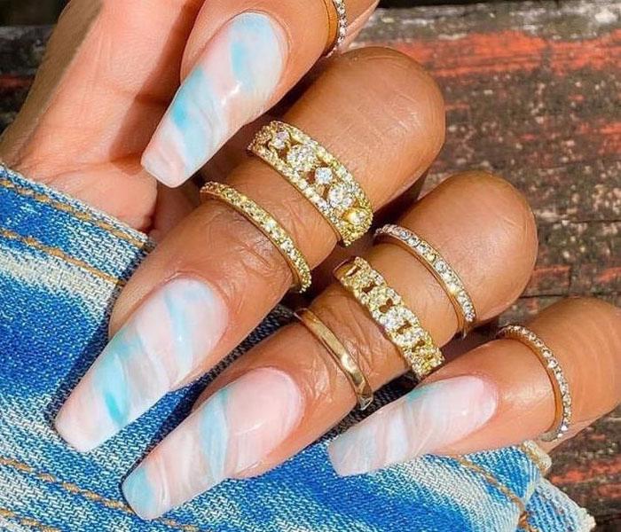 Summer Coffin Nails