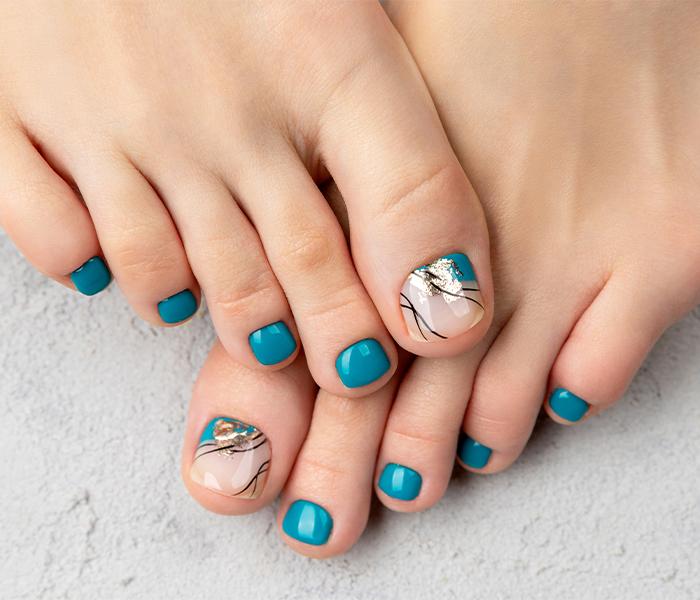 Teal Blue Beachy Toe Nails