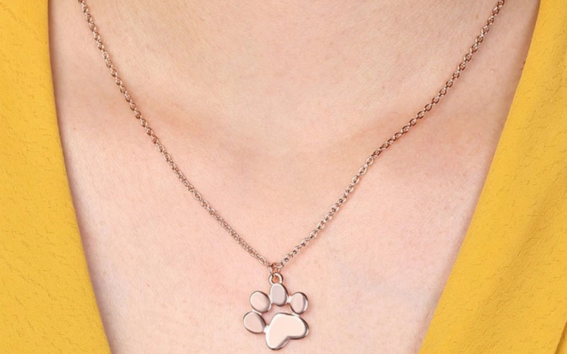 925 Sterling Silver Pet Paw Print Necklace