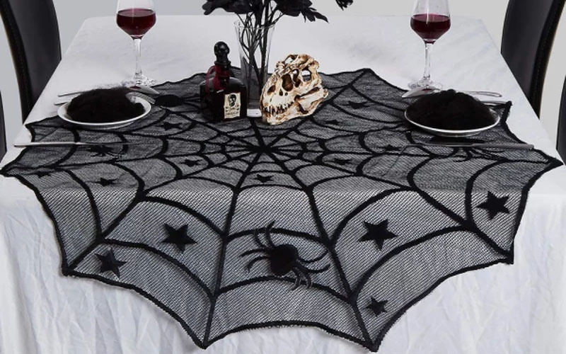 Black Lace Spiderweb Table Runner For Halloween Decoration