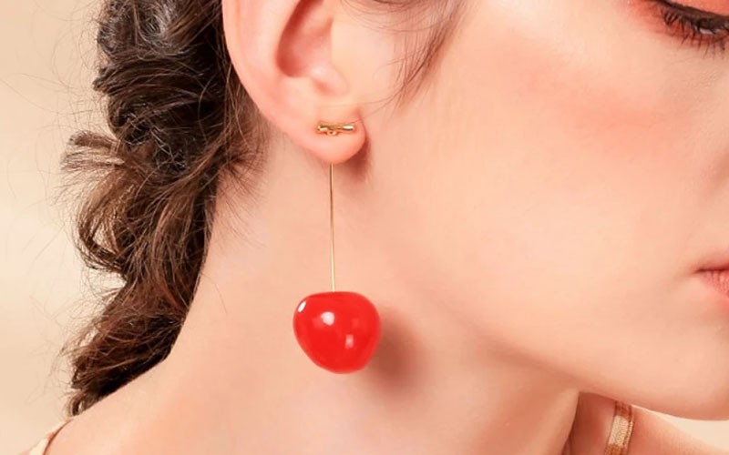 Drop Cherry Earrings With Gold Stems