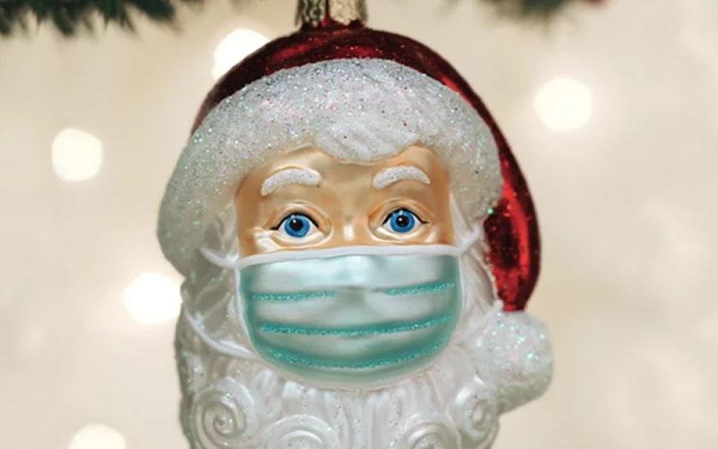 Santa With Mask Ornament 2020
