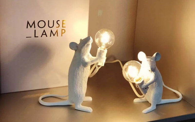 Whimsical Resin Mouse Lamps With E12 Bulbs