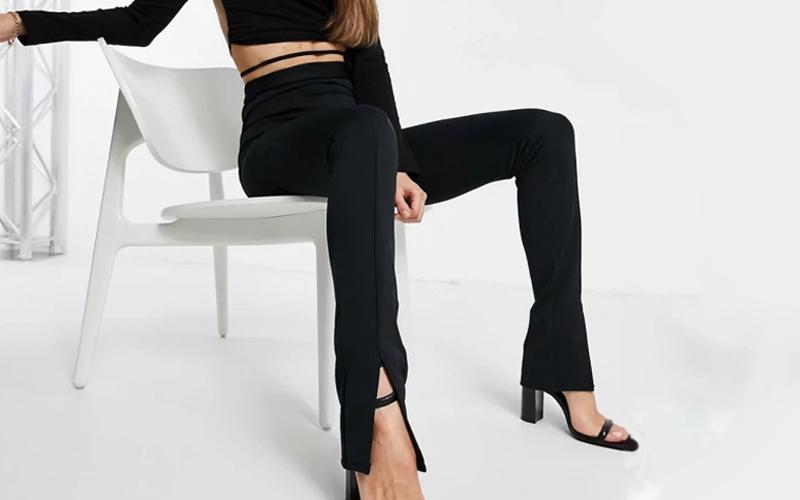 Black Front Slit Leggings