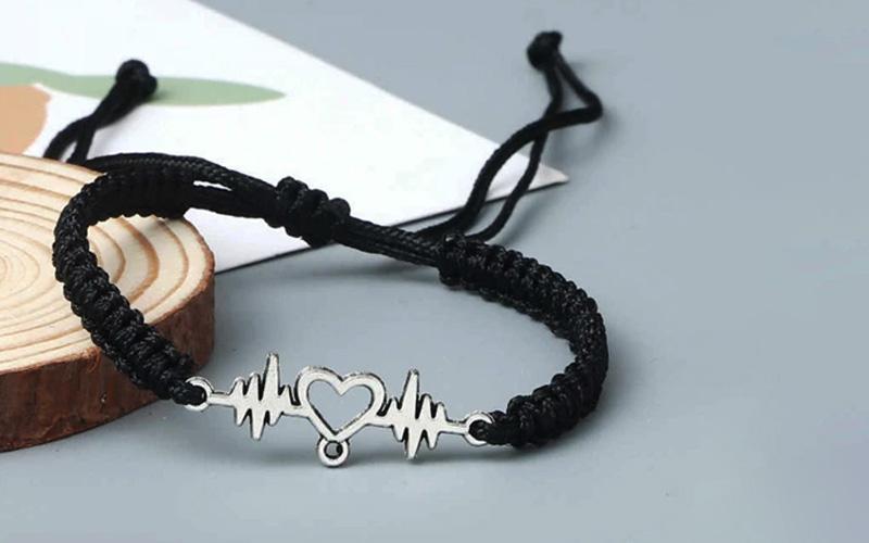 Couples Heartbeat Bracelet with a Heart Shaped Charm