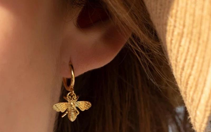 Gold & Silver Copper Alloy Honey Bee Earrings