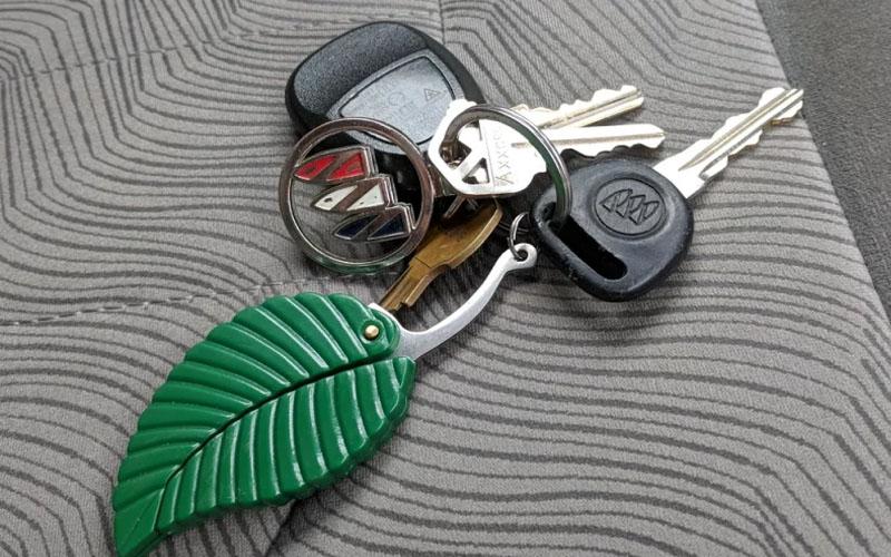 Green Folding Leaf Knife, Stainless Steel