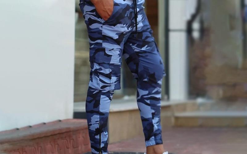 Men's Navy Blue Camo Pants
