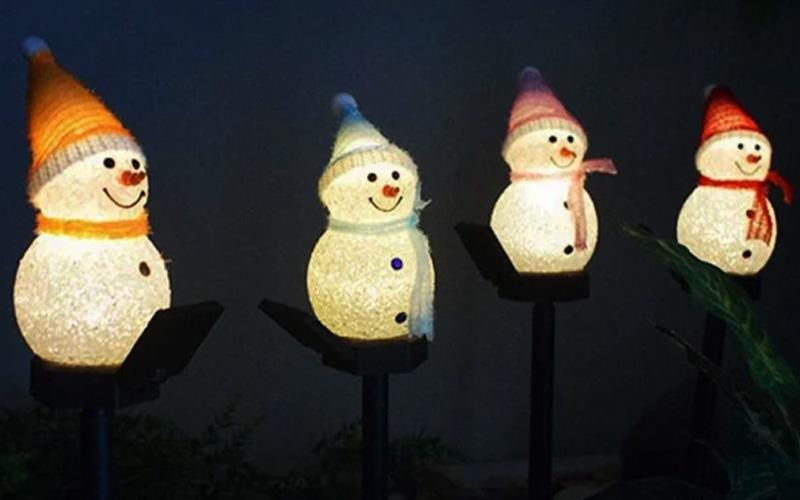 Outdoor Solar Snowman Decoration Lights