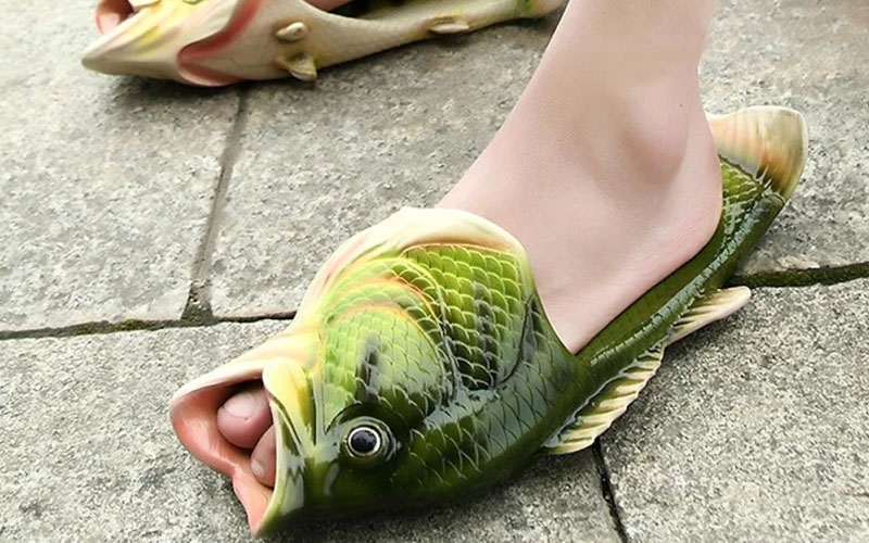 Realistic Unisex PVC Fish Slippers For Kids & Adults