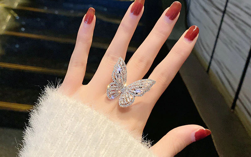 Copper & Cubic Zirconia Butterfly Ring