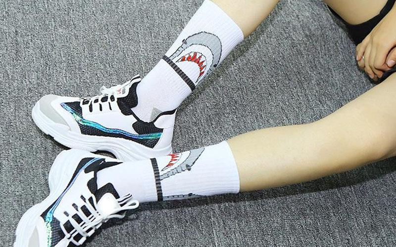 Grey & White Cotton Shark Socks