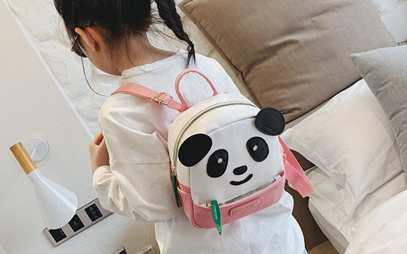 Polyester Cute Panda Backpack For School & Trips