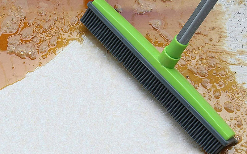 Rubber Broom Brush With Squeegee For Hair, Dust & Spills